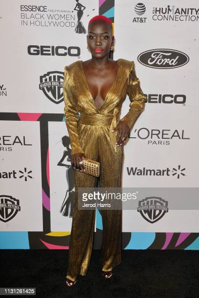 Nyakim Gatwech arrives at the 2019 Essence Black Women In Hollywood Awards at the Beverly Wilshire Four Seasons Hotel on February 21, 2019 in Beverly...