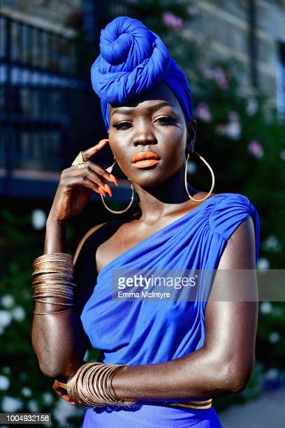 Nyakim Gatwech attends Camila Cabello and L'Oreal Paris Celebrate the launch of the HAVANA makeup collection in Pacific Palisades California on July...