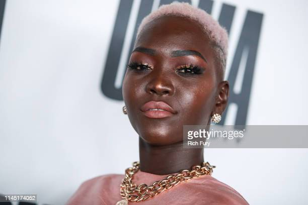 Nyakim Gatwech attends House Of Uoma presents the launch of Uoma Beauty The World's First Afropolitan Makeup Brand at NeueHouse Hollywood on April 25...