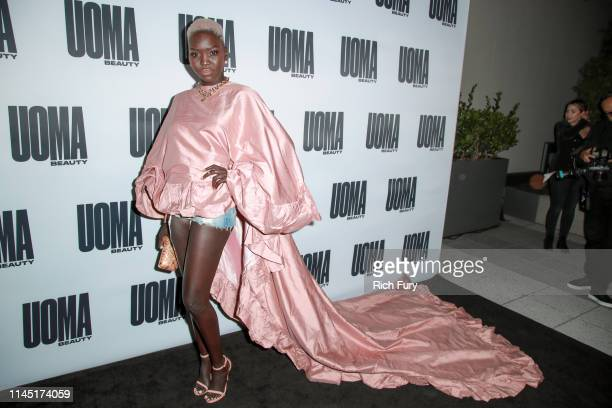 "Nyakim Gatwech attends House Of Uoma presents the launch of Uoma Beauty - The World's First ""Afropolitan"" Makeup Brand at NeueHouse Hollywood on..."