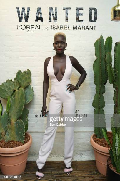 Nyakim Gatwech attends L'Oreal Paris And Isabel Marant Celebrate The Launch Of The Most Wanted Makeup Collection at Le Turtle on October 11 2018 in...