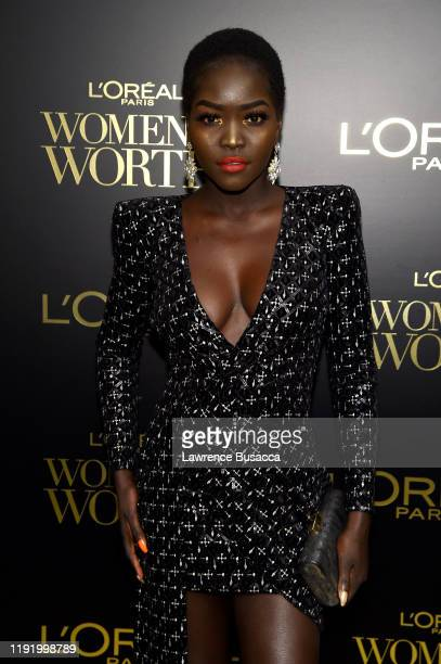Nyakim Gatwech attends the 14th Annual L'Oréal Paris Women Of Worth Awards at The Pierre on December 04 2019 in New York City