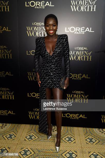 Nyakim Gatwech attends the 14th Annual L'Oréal Paris Women Of Worth Awards at The Pierre on December 04, 2019 in New York City.