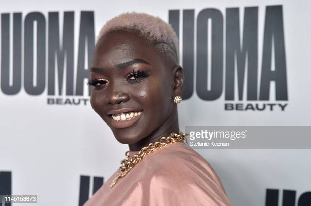Nyakim Gatwech attends UOMA Beauty Launch Event at NeueHouse Hollywood on April 25, 2019 in Los Angeles, California.