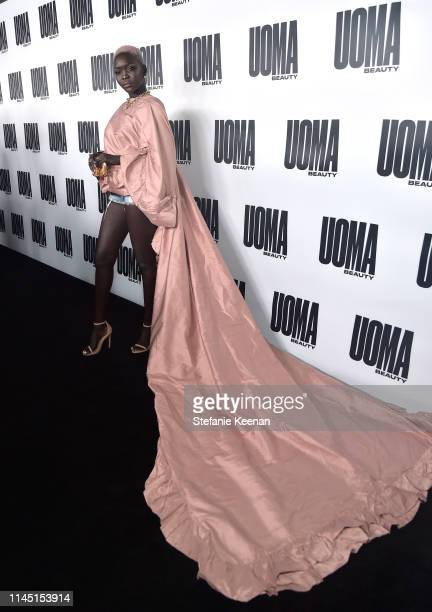 Nyakim Gatwech attends UOMA Beauty Launch Event at NeueHouse Hollywood on April 25 2019 in Los Angeles California