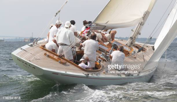 Nyala, owner Patrizio Bertelli, competes during the 12Mt World Championship on July 11, 2019 off Newport, Rhode Island.