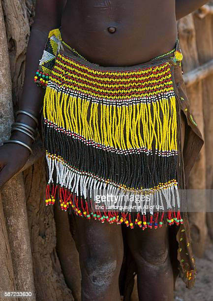 Nyangatom tribe traditional beaded skirt omo valley kangate Ethiopia on March 15 2016 in Kangate Ethiopia