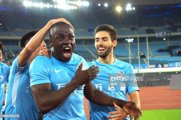 Nyasha Mushekwi of Dalian Yifang celebrates a goal during 2018 China Super League 11th round match between Dalian Yifang FC and Guizhou Hengfeng FC...