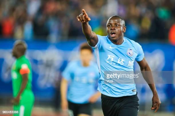 Nyasha Mushekwi of Dalian Yifang in action during 2018 China Super League 11th round match between Dalian Yifang FC and Guizhou Hengfeng FC at Dalian...
