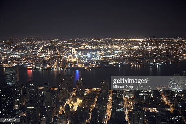 nyc aerial view at night looking east