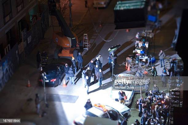 nyc film set miniature with police car - television show stock pictures, royalty-free photos & images