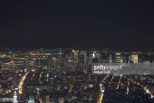 nyc skyline aerial view at night looking south