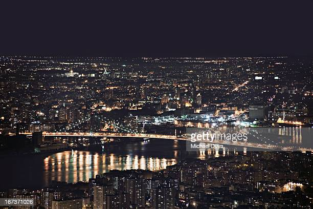 nyc skyline aerial view at night looking southeast
