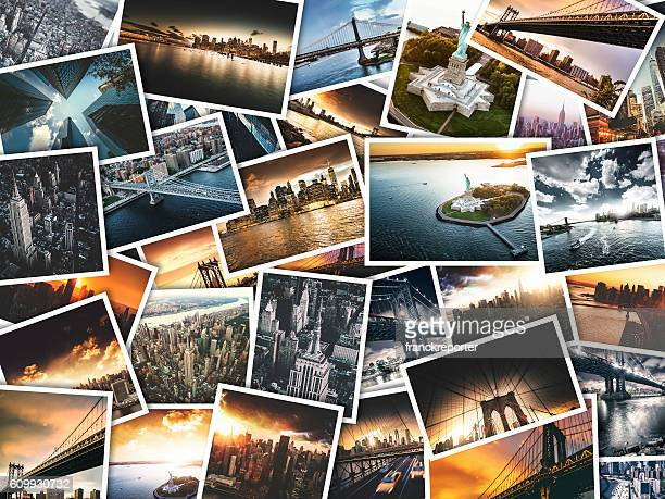 nyc travel images on polaroid paper - printout stock pictures, royalty-free photos & images