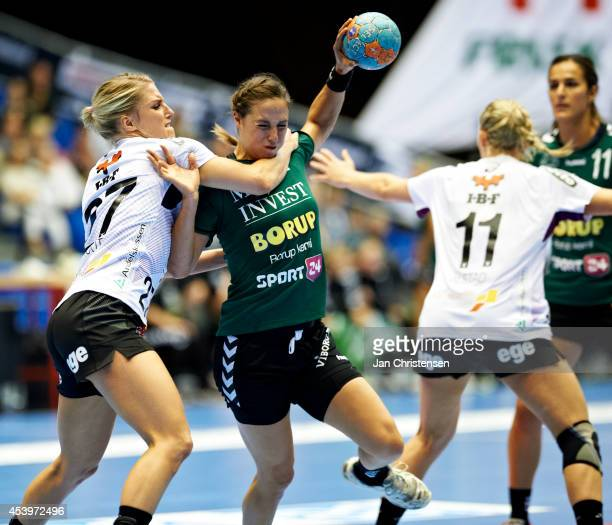 Nycke Groot of FC Midtjylland and Louise Burgaard of Viborg HK challenge for the ball during the Super Cup Final between Viborg HK and FC Midtjylland...