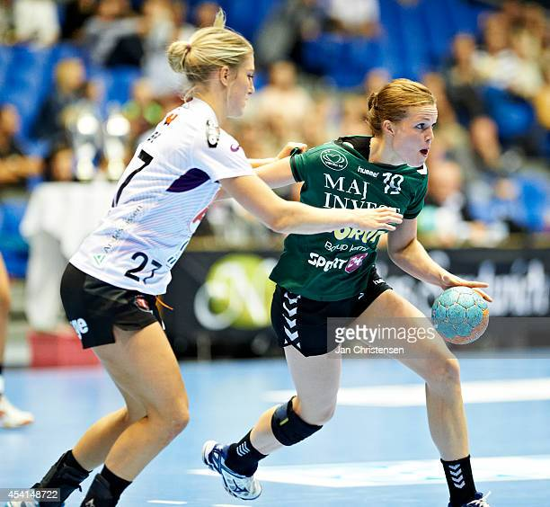 Nycke Groot of FC Midtjylland and Louise Lyksborg of Viborg HK challenge for the ball during the Super Cup Final between Viborg HK and FC Midtjylland...