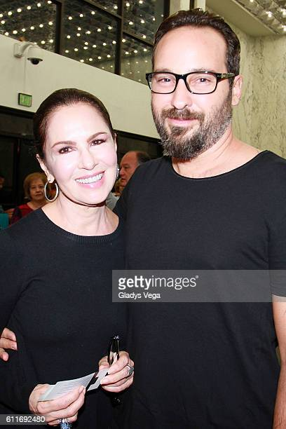 Nydia Caro and her son film director Christian Suau attend Julio Iglesias in Concert on September 30 2016 in San Juan Puerto Rico
