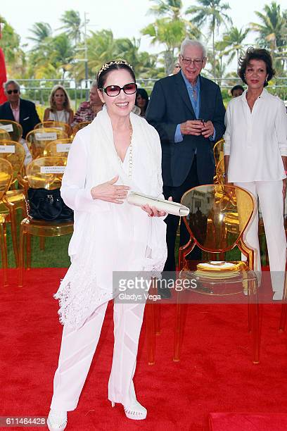 Nydia Caro attends as Julio Iglesias is honored with a star on the Puerto Rico Walk Of Fame on September 29 2016 in San Juan Puerto Rico