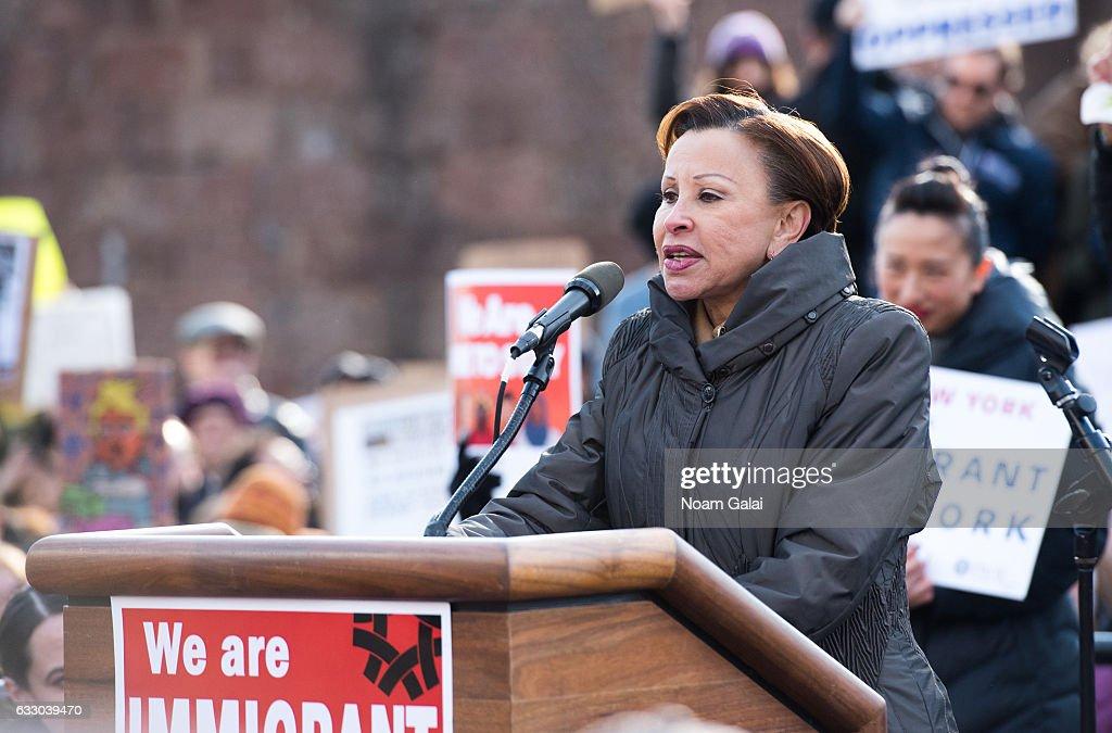 Demonstrators Protest Muslim Travel Ban In New York City : News Photo
