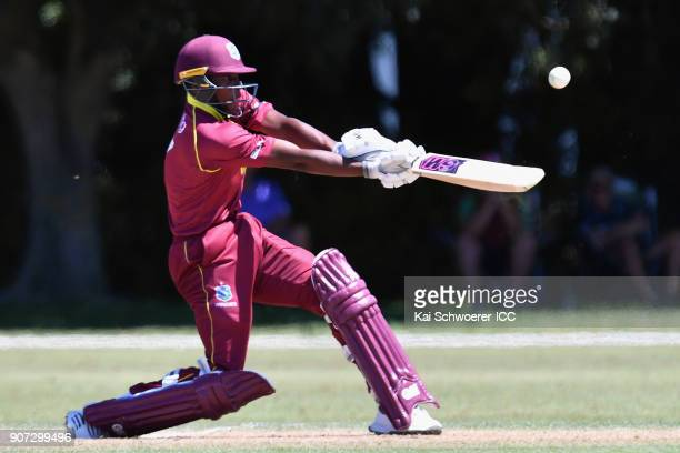 Nyeem Young of the West Indies bats during the ICC U19 Cricket World Cup match between the West Indies and Kenya at Lincoln Oval on January 20 2018...