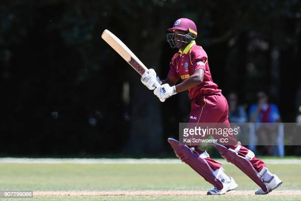 Nyeem Young of the West Indies makes a run during the ICC U19 Cricket World Cup match between the West Indies and Kenya at Lincoln Oval on January 20...