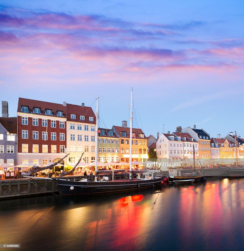 Nyhavn Canal City Skyline in Copenhagen Denmark : Stock Photo