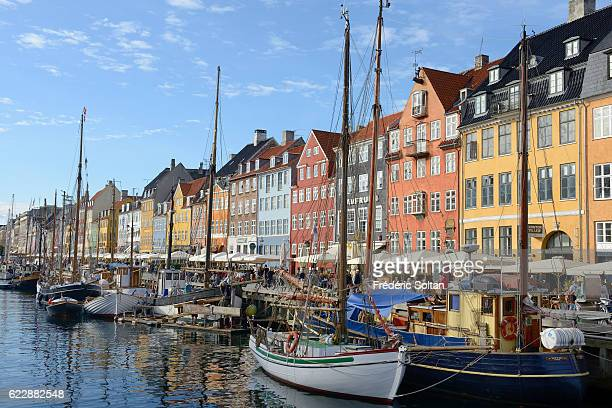 Nyhavn harbor on a Copenhagen canal in historical centerDenmark