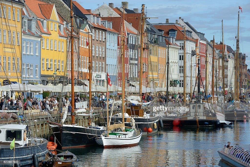 Nyhavn harbor on a Copenhagen canal in historical center,Denmark.