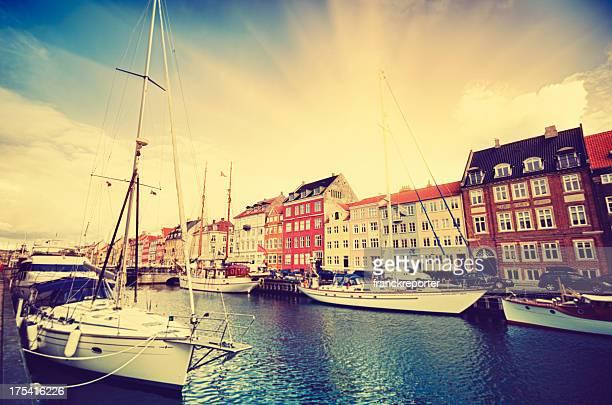 Nyhavn harbour in Copenhagen at during the sunrise