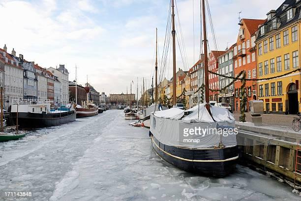 Nyhavn in Copenhagen, Denmark - ice winter