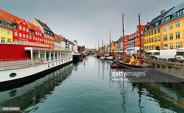 Nyhavn reflected in canal, overcast