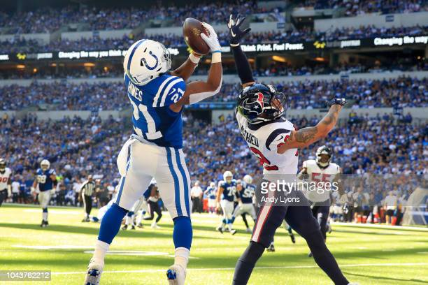 Nyheim Hines of the Indianapolis Colts catches the ball in the 3rd quarter against the Houston Texans at Lucas Oil Stadium on September 30 2018 in...