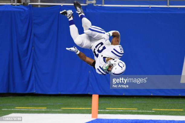 Nyheim Hines of the Indianapolis Colts celebrates after scoring a touchdown on a 22-yard reception against the Detroit Lions during the second...
