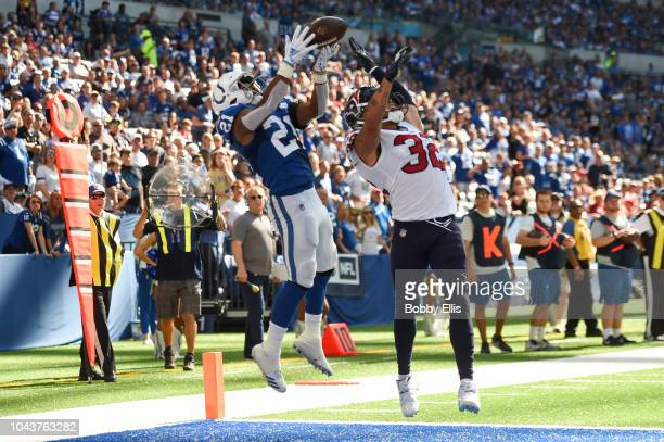 Nyheim Hines of the Indianapolis Colts makes the reception for a touchdown in the third quarter of the game against the Houston Texans at Lucas Oil...