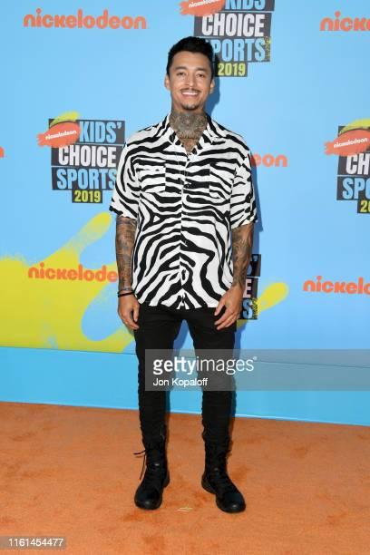 Nyjah Huston attends Nickelodeon Kids' Choice Sports 2019 at Barker Hangar on July 11 2019 in Santa Monica California