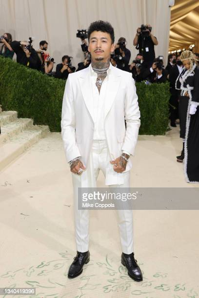 Nyjah Huston attends The 2021 Met Gala Celebrating In America: A Lexicon Of Fashion at Metropolitan Museum of Art on September 13, 2021 in New York...