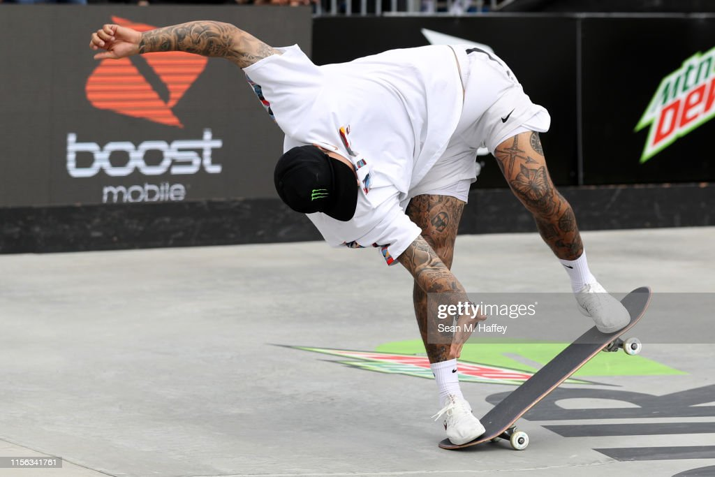 Nyjah Huston competes during the Men's Street Final at the 2019 Dew
