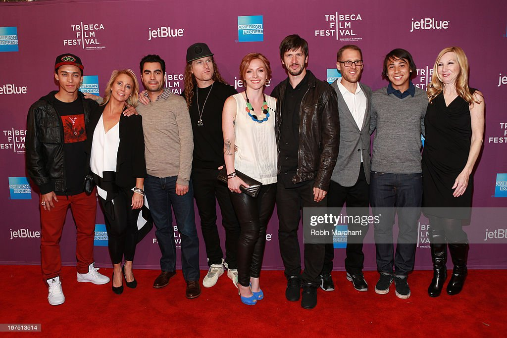 Nyjah Huston, Kelle Huston, Adam Bhala Lough, Ethan Higbee, Chris Cole, Tim Downlin, Sean Malto and guests attend 'The Motivation' World Premiere during the 2013 Tribeca Film Festival on April 25, 2013 in New York City.