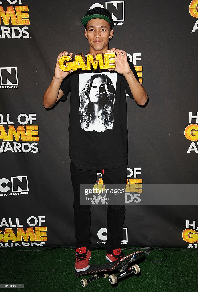 Nyjah Huston poses in the press room at Cartoon Network's 3rd annual Hall Of Game Awards at Barker Hangar on February 9, 2013 in Santa Monica, California.