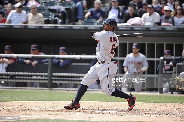 Nyjer Morgan of the Cleveland Indians bats against the Chicago White Sox on April 12 2014 at US Cellular Field in Chicago Illinois The Indians...