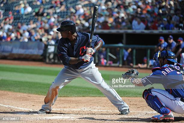 Nyjer Morgan of the Cleveland Indians bats against the Texas Rangers at Surprise Stadium on March 3 2014 in Surprise Arizona