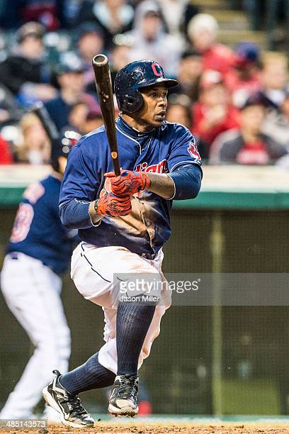 Nyjer Morgan of the Cleveland Indians hits a double during the third inning while Yan Gomes scores on an error against the San Diego Padres at...