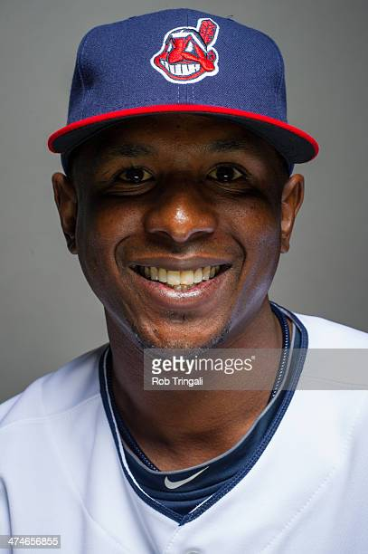 Nyjer Morgan of the Cleveland Indians poses for a portrait at Goodyear Ballpark on February 24 2014 in Goodyear Arizona