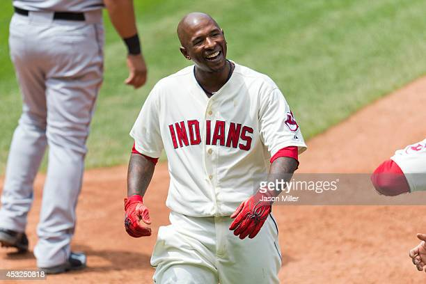 Nyjer Morgan of the Cleveland Indians reacts after at Progressive Field on May 4 2014 in Cleveland Ohio