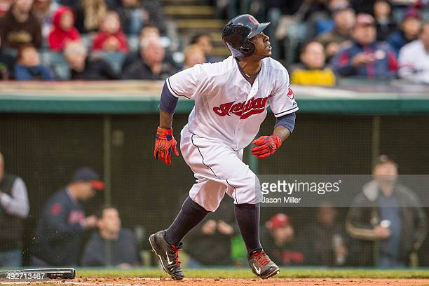 Nyjer Morgan of the Cleveland Indians runs to first during the third inning against the Minnesota Twins at Progressive Field on May 5 2014 in...