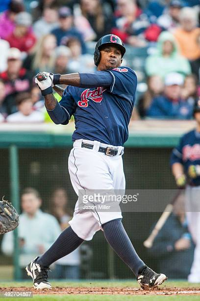 Nyjer Morgan of the Cleveland Indians up to bat during the second inning against the Minnesota Twins at Progressive Field on May 6 2014 in Cleveland...