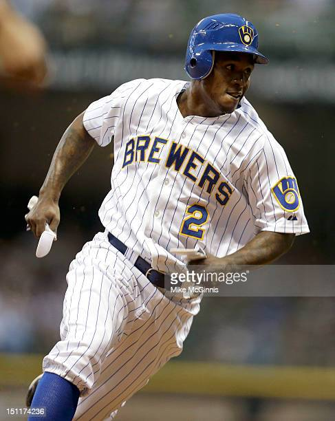 Nyjer Morgan of the Milwaukee Brewers in action during the game against the Pittsburgh Pirates at Miller Park on August 31 2012 in Milwaukee Wisconsin