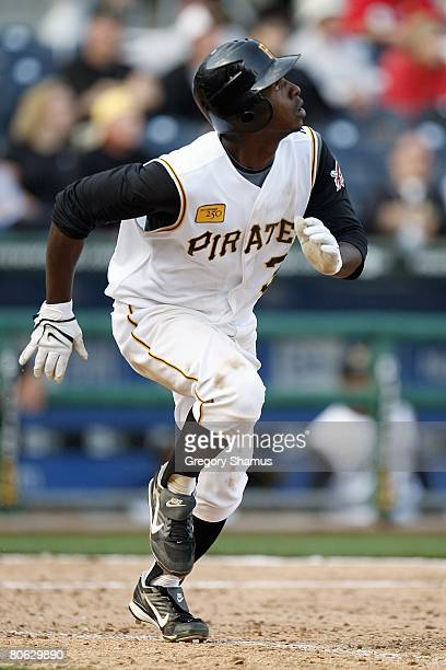 Nyjer Morgan of the Pittsburgh Pirates runs to firstbase against the Chicago Cubs during the Home Opener for the Pittsburgh Pirates on April 7 2008...