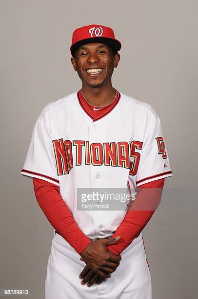 Nyjer Morgan of the Washington Nationals poses during Photo Day on Sunday February 28 2010 at Space Coast Stadium in Viera Florida