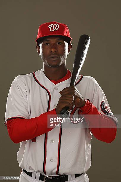 Nyjer Morgan of the Washington Nationals poses for a portrait during Spring Training Photo Day at Space Coast Stadium on February 25 2011 in Viera...